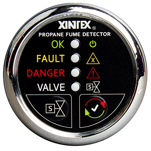 Fireboy-Xintex Xintex Xintex Propane Fume Detector w/Plastic Sensor & Solenoid Valve - Chrome Bezel Display