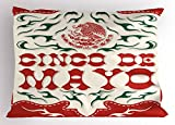 Lunarable Cinco De Mayo Pillow Sham, Artistic Print with National Mexican Flag Symbol Eagle, Decorative Standard King Size Printed Pillowcase, 36 X 20 inches, Hunter Green Off White Vermilion