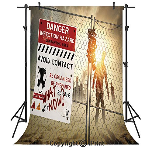 Zombie Decor Photography Backdrops,Dead Man Walking Dark Danger Scary Scene Fiction Halloween Infection Picture,Birthday Party Seamless Photo Studio Booth Background Banner -