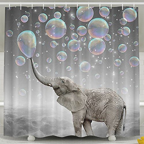 (Fallake Shower Curtain, Bathroom Waterproof Fabric Shower Curtain Set With Hooks For Men Women Kids,Cute Elephant Play Bubbles)