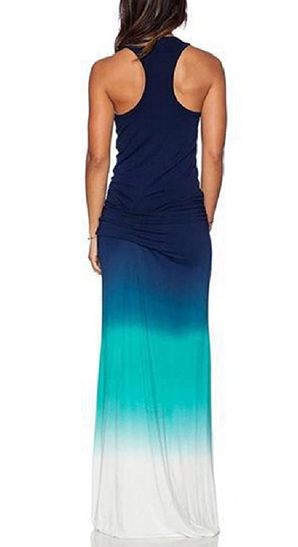 29ec5c34b1 Vska Women Sleeveless Ombre Floral Spring Fitted Crew-Neck Beach Dress at  Amazon Women's Clothing store:
