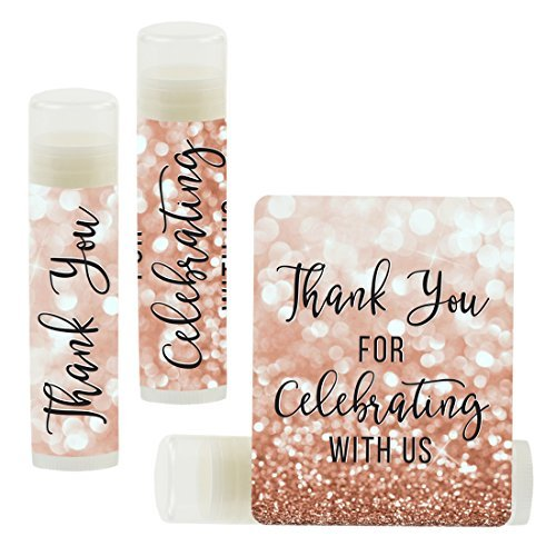 Andaz Press Personalized Wedding Party Lip Balm Party Favors, Faux Rose Gold Glitter Shimmer, Thank You, Bride & Groom Names and Date, 12-Pack, Custom ()