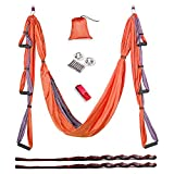 Aukiee Yoga Swing/Hammock/Trapeze/Sling for Antigravity Yoga Inversion Exercises-(6 in 1) 2 Mounting Sets/2 Extension Straps/Free Vedio in USB Flash Drive (Orange/Charcoal Grey)