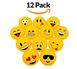 Emoji Party Pack Inflatable Beach Balls – Pack Of 12 Beach Pool Party Toys - 12'' For Swimming Pools, Pool Party, Toys, Birthday Party, Prize, Party Favor, Volleyball, Beach, Ocean, Kids, & Adults