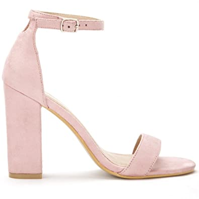 1bab6b3a2ca Ladies Baby Pink Barely There Strappy Sandals Peep Toes Block High Heels  UK5 EURO38