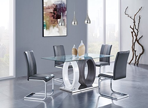 Global Furniture D1628DT Oval Base Dining Table, BR/Grey ()