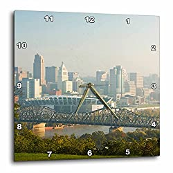 3dRose DPP_94134_3 USA, Ohio, Cincinnati Morning City View-US38 WBI0030-Walter Bibikow-Wall Clock, 15 by 15-Inch