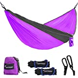 Sportneer Portable Double Hammock Parachute Nylon Fabric Wide Hammock with Tree Straps, Carabiners & Ropes for Backpacking, Camping, Travel,Yard, Purple