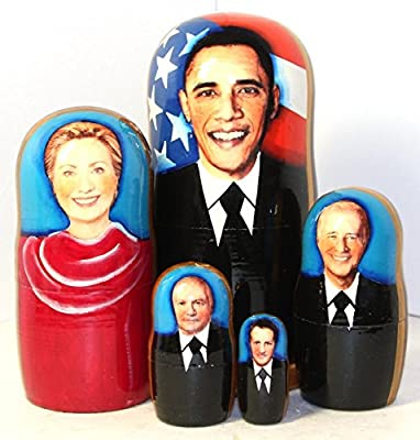 New Set of 5 pcs Nesting Dolls Barack Obama Authentic Russian Wooden Matryoshka 17 cm 6.6 inch Birthday Gifts Home Decoration