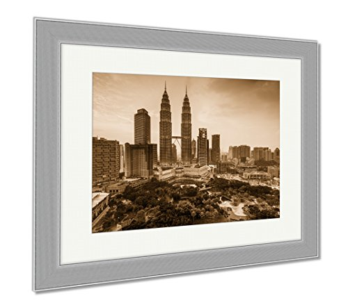 Ashley Framed Prints Kuala Lumpur Malaysia Skyline, Contemporary Decoration, Sepia, 26x30 (frame size), Silver Frame, - Tower Place Mall