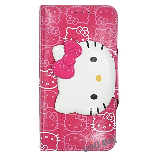 LG G3 Case Hello Kitty Cute Diary Wallet Flip Synthetic Leather Anti-Shock LG G3 Cover (Button Face Hot Pink) ()