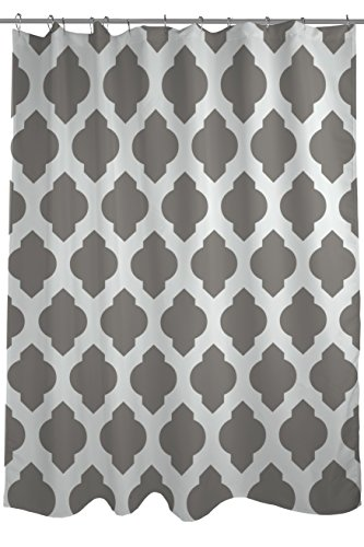 """One Bella Casa All over Moroccan Shower Curtain by OBC, Standard 71""""x 77"""", Gray/Ivory"""