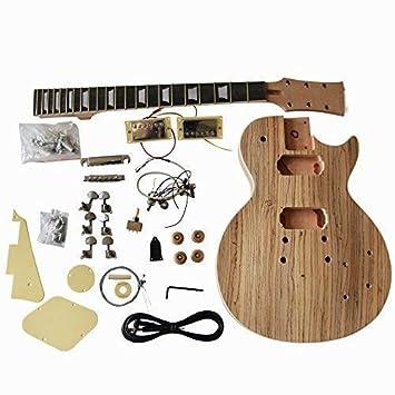 GD790 Hazlo Tú Mismo Guitarra Eléctrica Kits, Estilo Macizo Caoba Cuerpo con Zebrawood Chapa: Amazon.es: Instrumentos musicales