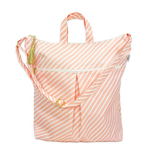 Waterproof Simple Tote - Waterproof Diaper Bag with Dry Pocket, Cloth Diaper Wet Dry Bag, Large Hanging Bag - Swimsuits + Travel, Diapering + Feeding On-The-Go - Made in USA ()