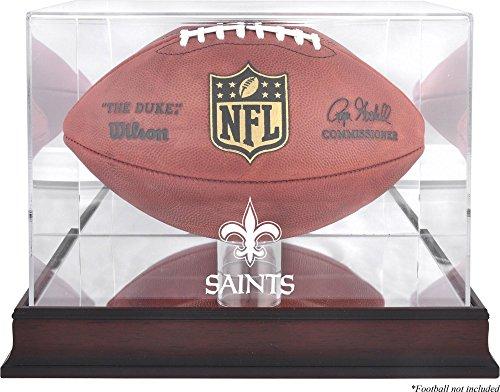 New Orleans Saints Mahogany Football Logo Display Case and Mirror Back