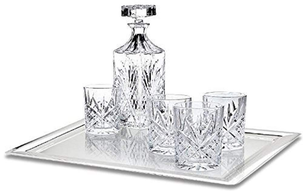 James Scott 6-Piece Crystal Whiskey Decanter Set - Lead Free Elegant Decanter with Beautiful Stopper and 5 Exquisite Old Fashioned Glasses | Packaged in an Exclusive Gift Box