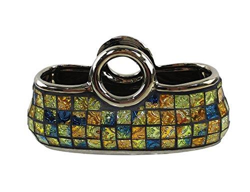 Decorative Ceramic & Glass Purse Floral Vases, 10 1/4