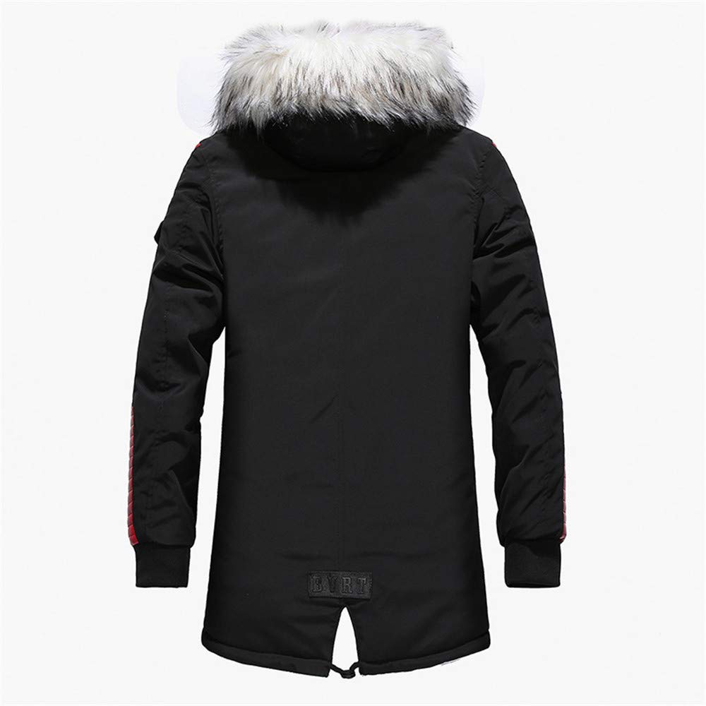 Mens Lightweight Thickening Down Jacket Coat Fur Hooded Pocket Trench Coats Winter Outwear Mens Down Zip Up Jackets