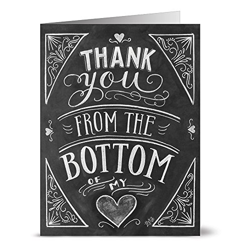 From the Bottom of My Heart - 36 Chalkboard Thank You Note Cards - Blank Cards - Kraft Envelopes (Heart Cards)