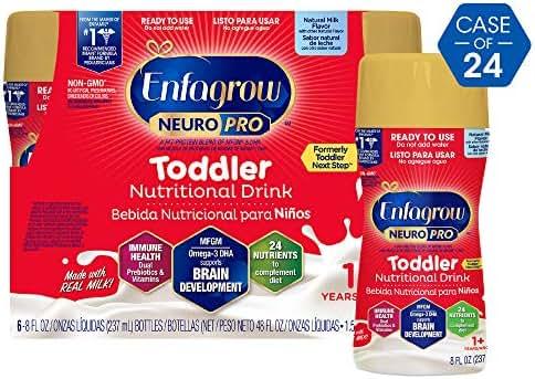 Enfagrow Neuropro Omega 3 Dha Prebiotics Non-gmo Toddler Nutritional milk drink, natural milk flavor Ready To Feed Liquid, 8 Fl. Oz. (24Count)
