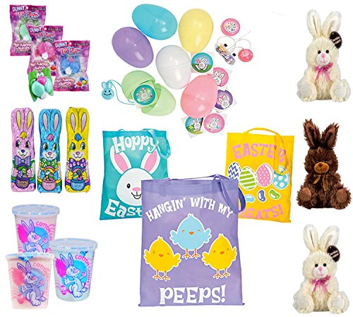 Kids Easter Inspired 8pc Pre-Filled Resuable Tote Bags! Fun Alternative To Easter Basket & Doubles As Easter Egg Hunt Loot Bag! Set of 3!