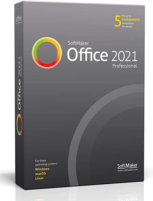 SoftMaker Office 2021 PRO - create word documents, spreadsheets and presentations - software for Windows 10 / 8 / 7 and MAC - compatible with Microsoft Office Word, Excel and PowerPoint - for 5 PCs