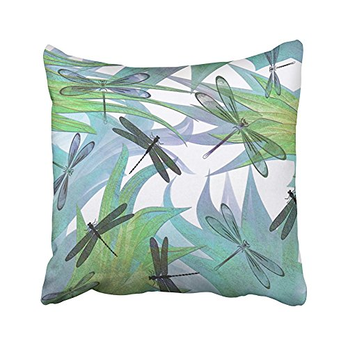 SPXUBZ Colorful Colorful Dragonfly Abstract Decorator Pillow Cotton Polyesterwith Hidden Zipper Decorative Home Decor Square Indoor/Outdoor Throw Pillowcase Size: 16x16 Inch(Two Sides) -
