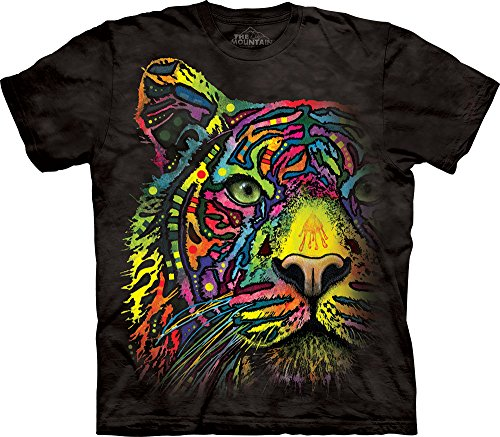 The Mountain Rainbow Tiger Adult T-Shirt, Black, XL