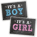 Katie Doodle GR023 Baby Announcement Chalkboard Sign Set (Poster Prints), It's a Boy and It's a Girl, 12x18 inches, Black Style