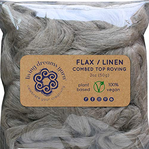 Flax Fiber for Spinning Blending and Fiber Arts. Natural Undyed Vegan Combed Top.