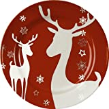 Waechtersbach Winter Splendor Salad Plates, Reindeer Red, Set of 4