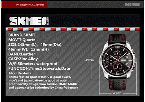 Men's Quartz Analog Sports Chronograph Waterproof Wristwatches Black  leather Strap Skmei 9106 Blue