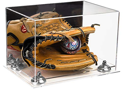 Deluxe Acrylic Baseball Glove Display Case with Mirror, Silver Risers and Clear Base (A004-SR)