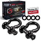 Automotive : 3/4'' D-Ring Shackles By USWAY GEAR (2-Pack) | 4,75 Ton (9,500 Lbs) Working Load + 4 Free Pcs Washer Kit Rings | Great For Vehicle Towing, Recovery, Stump Removal & More | Essential For Jeeps & Trucks