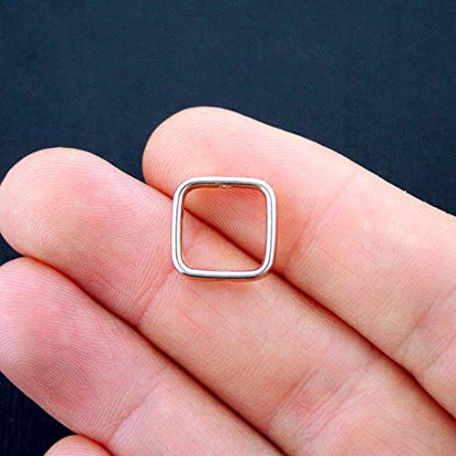 6 Square Bead Frames Antique Gold Tone Bead Spacer Vintage Crafting Pendant Jewelry Making Supplies - DIY for Necklace Bracelet Accessories by CharmingSS