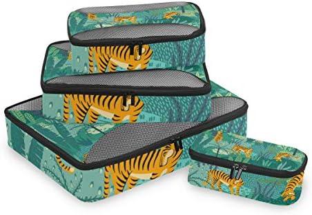 グリーンアートジャングルタイガース荷物パッキングキューブオーガナイザートイレタリーランドリーストレージバッグポーチパックキューブ4さまざまなサイズセットトラベルキッズレディース