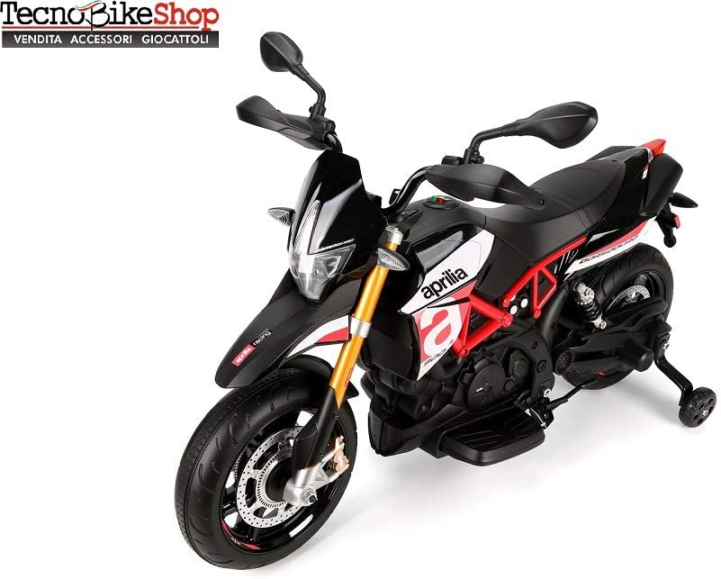 Tecnobike Shop Moto Elettrica per Bambini Motocicletta Piaggio Aprilia Racing Dorsoduro 12V Luci Suoni LED Ruote in Gomma Eva (Grigio)