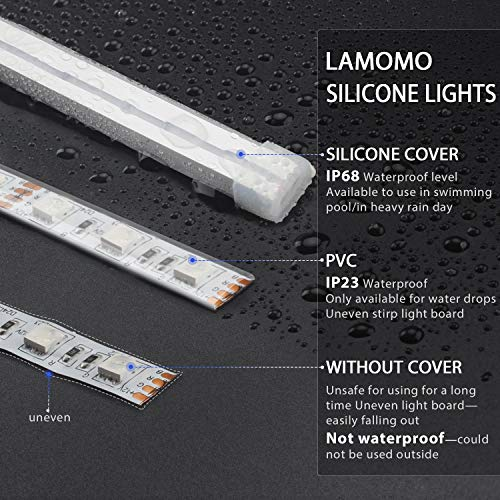 Dimmable Warm White LED Light Strip, Lamomo 3000K Flexible White Neon Light 16.4 Ft/5m 600 LEDs IP68 Waterproof, UL-Listed Upgrade Silicone LED Rope 12V DC Tape Light for Indoors/Outdoors Decor