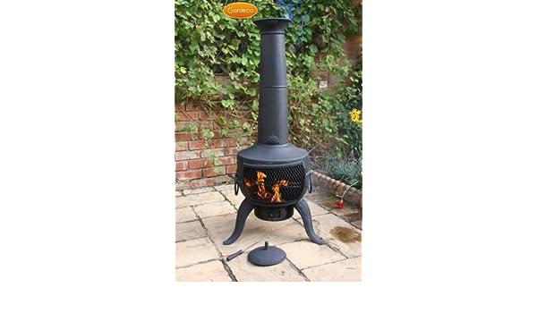 Grande acero y hierro fundido Chimenea parrilla de barbacoa diseño negro 137 cm x 46 cm: Amazon.es: Jardín