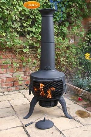 Grande acero y hierro fundido Chimenea parrilla de barbacoa diseño negro 137 cm x 46 cm