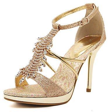 LvYuan Mujer-Tacón Stiletto-Confort Tira en el Tobillo Zapatos del club-Sandalias-Boda Vestido Fiesta y Noche-PU-Oro Gold