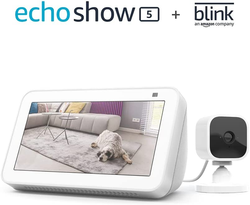 All-new Echo Show 5 (2nd Gen, 2021 release) - Glacier White bundle with Blink Mini