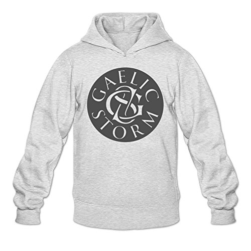 TYMLLER Men's Gaelic Storm Logo Hoodied Sweatshirt Size M Light Grey