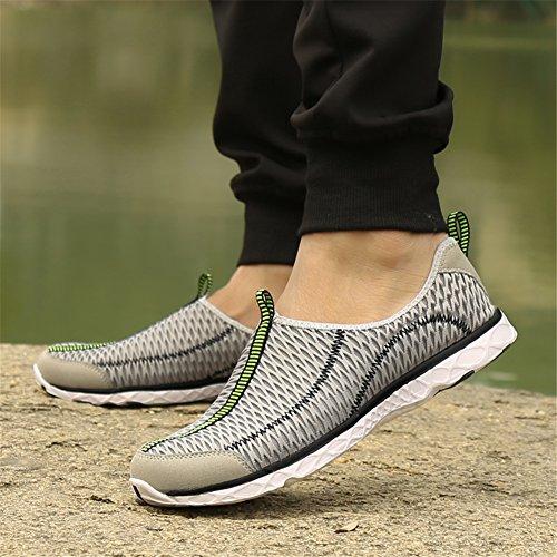 PENGCHENG Wasser Schuhe Für Männer Frauen Schnell Trocknende Slip-On Schuhe Mode Mesh Atmungsaktive Waten Leichte Sneaker Casual Outdoor Bequeme Liebhaber Schuhe Grau