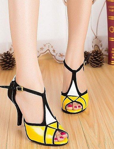 ShangYi Chaussures de danse ( Jaune ) - Personnalisables - Talon Cubain - Similicuir - Latine , yellow-us6 / eu36 / uk4 / cn36 , yellow-us6 / eu36 / uk4 / cn36