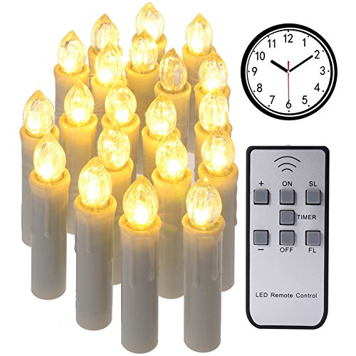 20pcs PChero Emulational Dimmable LED Flameless Taper Ivory Timer Candles with Remote and Removable Clips, Last Up to 100 Hours, Perfect for Indoor Outdoor Decorations - [Large Size] by PChero