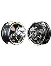 SUPTOP Unique Ear Gauges Silver Plugs and Tunnels Dinosaur Skull Stretched Ears Screw Expander 2pcs Size 2g to 1 inch