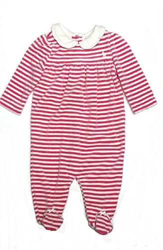 RALPH LAUREN Baby Girls Shawl-Collar Coverall (9 Months, Pink/White)