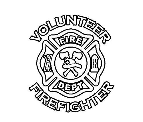 ION Graphics Volunteer Fightfighter Sticker Die Cut Decal fire dept Firefighter Maltese Cross 5