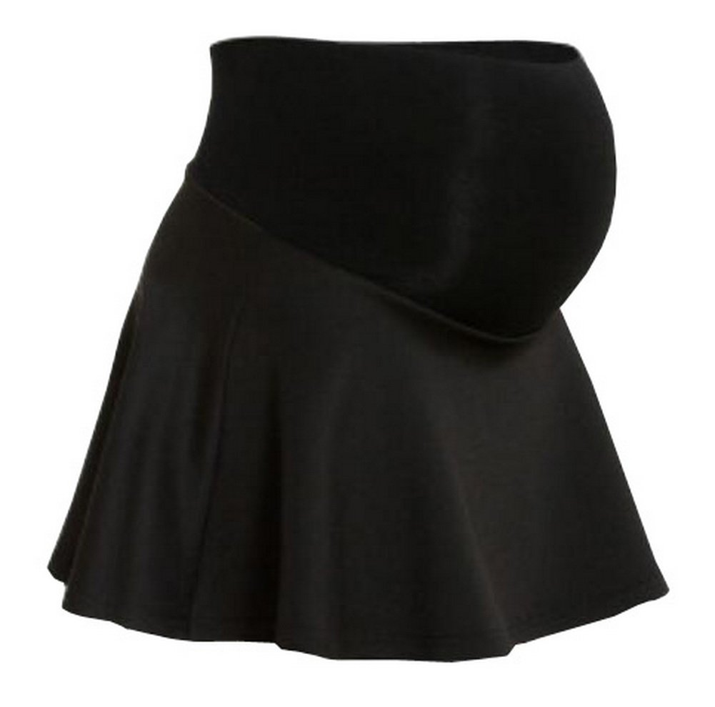 Foucome Black Maternity Women's Solid Stretchy Flared Casual Pregnancy Mini Skater Skirts with Soft Panel and Shorts